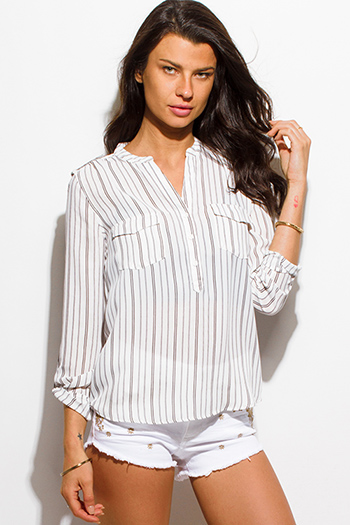 $15 - Cute cheap light blue washed denim quarter sleeve snap button up blouse top - white and black striped three quarter sleeve collarless button up blouse top
