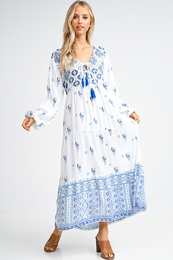 $25 - Cute cheap print backless sun dress - White and blue ethnic print long sleeve tassel tie waist boho peasant maxi sun dress