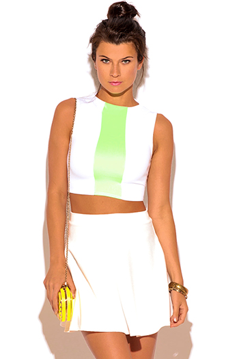 $5 - Cute cheap black fishnet mesh overlay short sleeve sexy clubbing crop top - white neon green color block fitted suiting crop top