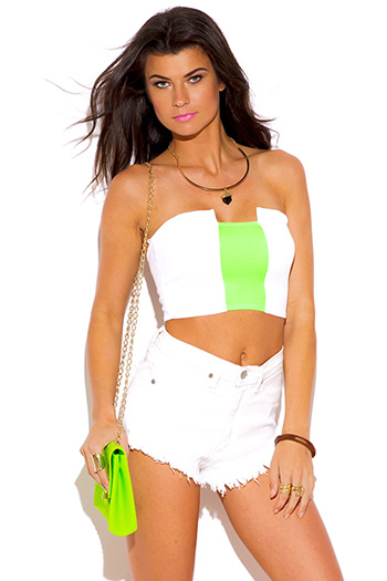 $3 - Cute cheap color block fringe sweater - white neon green stripe color block strapless crop bandeau tube top