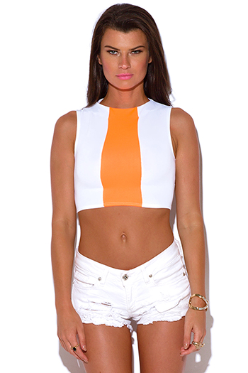 $5 - Cute cheap mesh high neck catsuit - white and neon orange high neck crop top