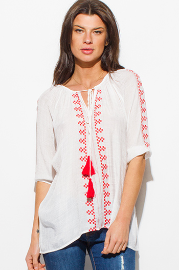$15 - Cute cheap white boho top - white and red embroidered rayon gauze quarter sleeve tassel tie boho peasant top