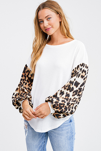 $25 - Cute cheap taupe beige long sleeve oversized hooded boho textured slub sweater top - White animal print long sleeve round neck boho thermal top