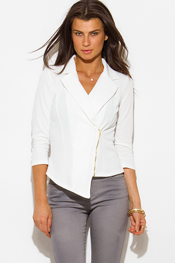 $20 - Cute cheap white beach cover up - white asymmetrical hem quarter sleeve zip up fitted blazer jacket top