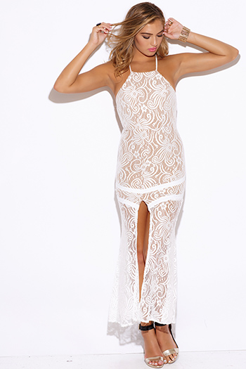 $15 - Cute cheap ribbed lace sexy club dress - white baroque lace high slit backless fitted formal evening cocktail party maxi dress