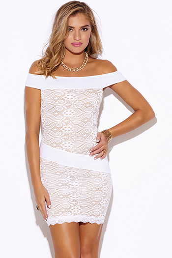 $15 - Cute cheap black white floral jacquard bejeweled mesh panel fitted bodycon pencil party mini dress - white baroque lace off shoulder fitted cocktail party sexy club mini dress