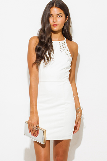 $25 - Cute cheap ribbed open back sexy party mini dress - white bejeweled halter racer back bodycon fitted shift pencil party mini dress