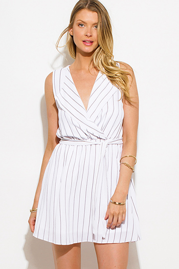 $15 - Cute cheap white ruched dress - white black pinstripe sleeveless faux wrap mini shirt dress