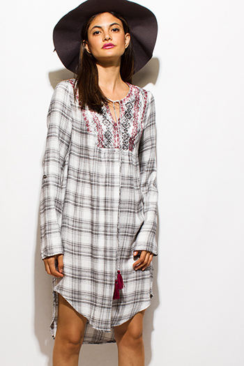 $20 - Cute cheap khaki open back dress - white black plaid print long sleeve embroidered tunic peasant midi dress
