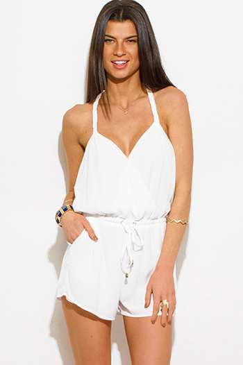 $10 - Cute cheap white boho crochet jumpsuit - white braided halter faux wrap backless pocketed boho resort romper playsuit jumpsuit