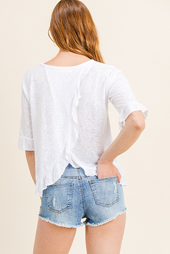 $11 - Cute cheap white houndstooth textured cut out twist knot cold shoulder long sleeve boho blouse top - White burnout knit ruffled short sleeve surplice back boho top