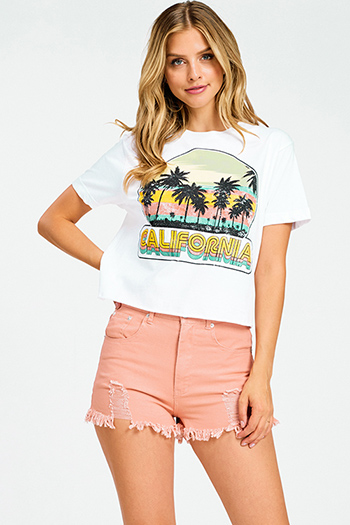 $15 - Cute cheap print boho wrap top - White california graphic print short sleeve boho cropped tee shirt top