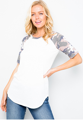$19 - Cute cheap White camo army print color block baseball tee shirt top