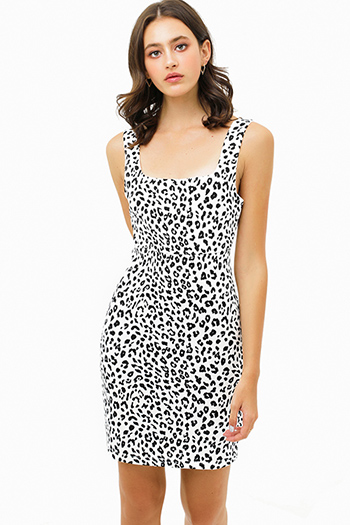 $25 - Cute cheap shirring strapless rayon spandex knit mini dress - White cheetah animal print sleeveless square neck sheath pencil mini dress