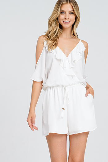 $15 - Cute cheap white denim mid rise distressed pearl studded frayed boho cutoff embellished jean shorts - White chiffon cold shoulder short sleeve ruffled surplice open back boho sexy party romper