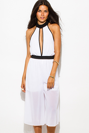 $20 - Cute cheap black chiffon crochet jumpsuit - white chiffon color block cut out high neck backless cropped sexy clubbing midi jumpsuit