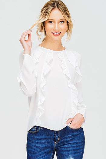 $15 - Cute cheap nude beige mesh inset cut out cold shoulder sexy clubbing crop top - white chiffon ruffled long sleeve keyhole back boho blouse top
