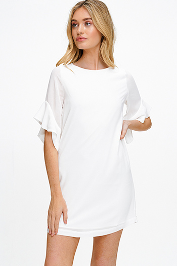 $15 - Cute cheap ruched fitted dress - White chiffon short ruffled bell sleeve back button cocktail sexy party boho shift mini dress