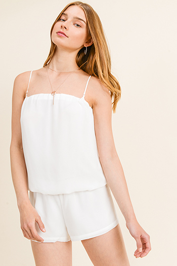 $15 - Cute cheap lace crochet romper - White chiffon strapless draped boho resort romper playsuit jumpsuit