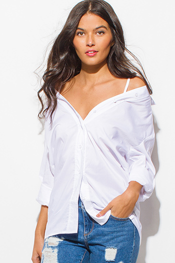$15 - Cute cheap navy blue plaid cotton gauze quarter sleeve button up blouse top - white cold shoulder long sleeve button up boho shirt blouse top