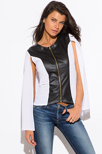 $10 - Cute cheap ivory white sheer stripe mesh contrast asymmetrical zip up moto blazer jacket top - white color block faux leather panel zip up cape blazer jacket