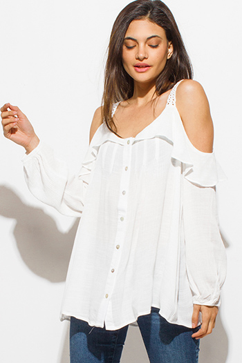 $15 - Cute cheap lace boho tank top - white cotton blend gauze ruffle cold shoulder long blouson sleeve button up boho blouse top