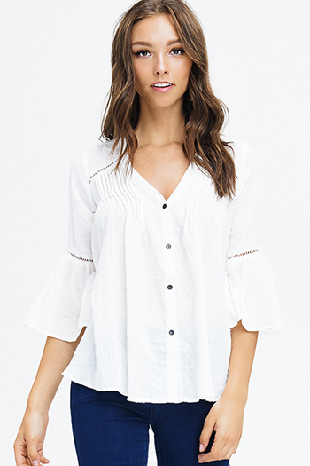 $15 - Cute cheap blouson sleeve top - white cotton blend textured quarter bell sleeve resort boho button up blouse top
