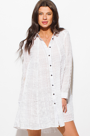 $20 - Cute cheap vintage print criss cross harem jumpsuit - white cotton gauze grid print long sleeve button up boho beach cover up tunic top mini dress
