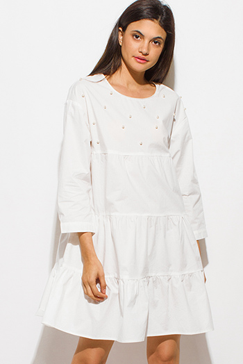 $15 - Cute cheap ivory white crochet lace panel long blouson sleeve button up boho blouse top - white cotton quarter sleeve faux pearl studded keyhole back tiered boho mini dress