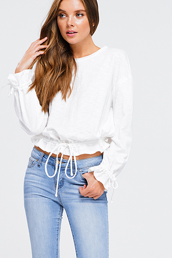 $15 - Cute cheap white boho crochet blouse - White cotton round neck ruched long sleeve ruched tie waist boho crop top