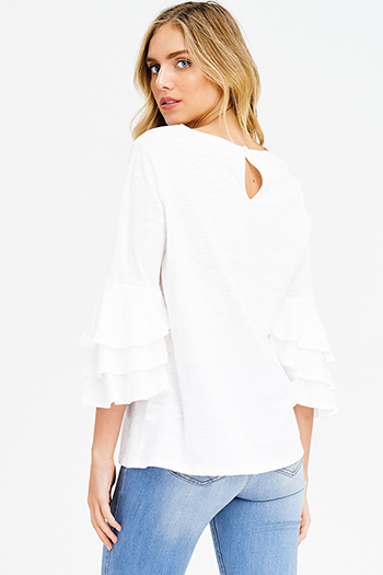 $15 - Cute cheap white low neck short sleeve slub tee shirt top - white cotton ruffle tiered quarter bell sleeve boho blouse top