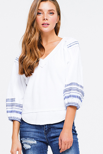 $15 - Cute cheap white asymmetrical top - white cotton thermal quarter blouson sleeve v neck embroidered boho peasant top