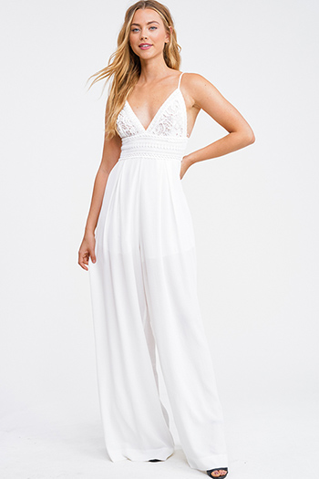 $18 - Cute cheap v neck slit jumpsuit - White crochet lace bustier v neck sleeveless tie back wide leg boho resort jumpsuit