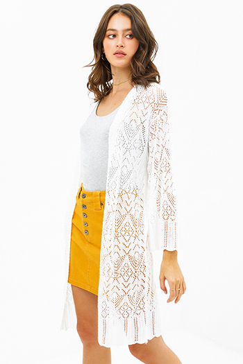 $25 - Cute cheap mustard yellow stripe short sleeve twist knotted front boho tee shirt top - White crochet long bell sleeve scallop hem open front boho duster cardigan