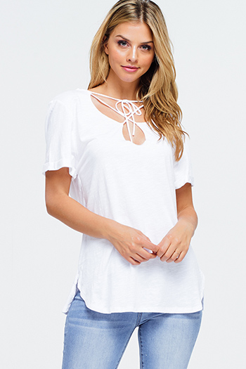 $15 - Cute cheap boho quarter sleeve jumpsuit - White cut out tie neck short sleeve boho tee shirt top