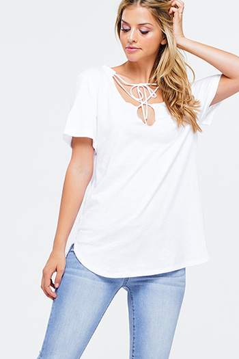 $15 - Cute cheap ivory white crochet lace panel long blouson sleeve button up boho blouse top - White cut out tie neck short sleeve boho tee shirt top