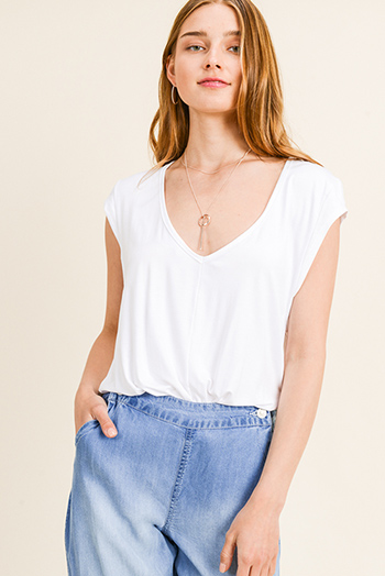 $15 - Cute cheap v neck slit jumpsuit - White deep v neck wide cut short cap sleeve bodysuit top