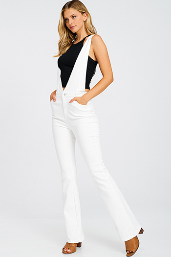 $30 - Cute cheap v neck slit jumpsuit - White denim a line high waisted fitted pocketed boho flare overalls jumpsuit