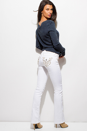 $20 - Cute cheap dark blue denim ripped distressed mid rise fitted skinny jeans - white denim embroidered rhinestone bejeweled fitted mid rise boot cut jeans