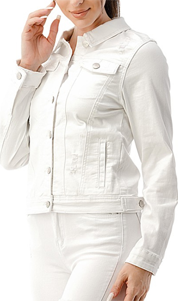 $31.50 - Cute cheap white denim jacket with rips and pockets.