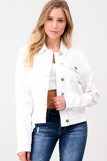 $30 - Cute cheap ivory white crochet lace panel long blouson sleeve button up boho blouse top - White denim long sleeve button up lined pocketed jean jacket