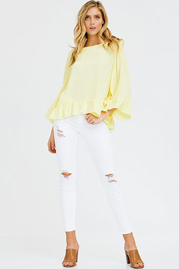 $20 - Cute cheap white chiffon blouse - white denim mid rise distressed frayed double button skinny jeans