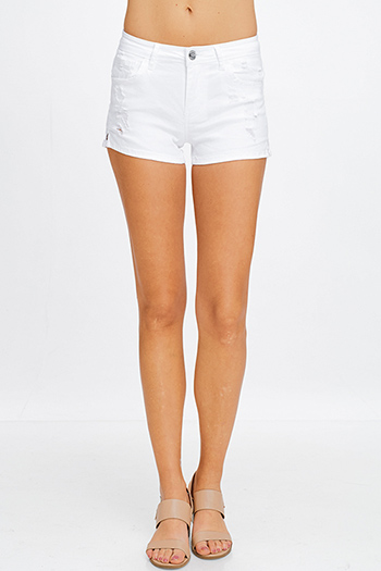 $13 - Cute cheap white denim mid rise distressed pearl studded frayed boho cutoff embellished jean shorts - White denim mid rise distressed frayed pocketed side slit jean shorts