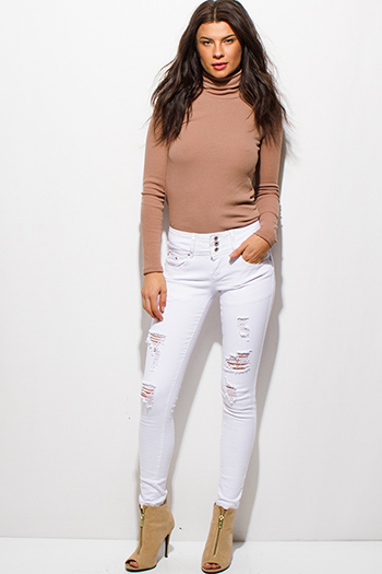 $20 - Cute cheap dark blue washed denim mid rise fitted skinny ankle jeans - white denim mid rise three button distressed ripped skinny jeans