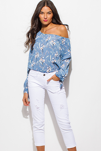 $20 - Cute cheap white chiffon blouse - white denim ripped distressed mid rise cuffed cropped boyfriend jeans