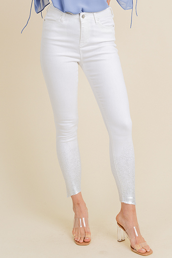 $15 - Cute cheap blue washed denim mid rise distressed ripped fitted skinny jeans - White denim silver metallic foil paint splatter hem high rise boho fitted skinny jeans