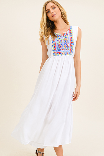 $25 - Cute cheap dark navy blue daisy print sleeveless fit and flare zip up side boho midi sun dress - White embroidered applique sleeveless tie waist boho peasant maxi sun dress