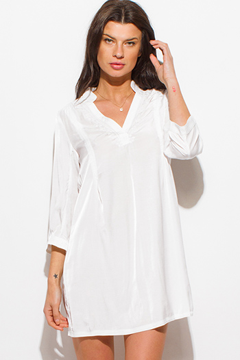 $20 - Cute cheap ivory white long sleeve v neck belted high low hem boho tunic mini shirt dress - white embroidered indian collar quarter sleeve boho beach cover up tunic top mini dress