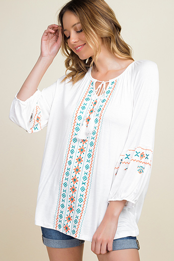 $15 - Cute cheap teal blue multicolor abstract ethnic print indian collar boho peasant blouse top - White embroidered quarter sleeve tassel tie front boho peasant top