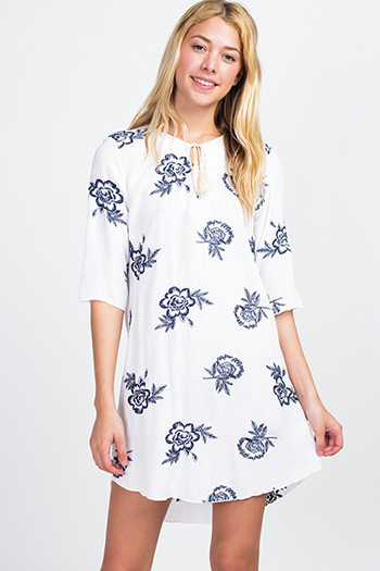 $12 - Cute cheap blue shift dress - White embroidered quarter sleeve tassel tie front boho shift peasant mini dress